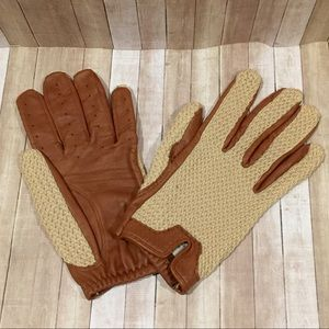 Leather and Crochet Cotton Driving Gloves England